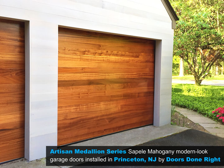 cedar garage doors. Artisan Medallion Series Sapele Mahogany Modern-Look Wood Garage Doors Installed In Princeton, NJ 08540 Cedar
