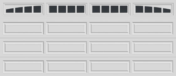 16 long panel clopay premium series garage door madison arch & rectangular windows