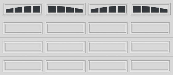16 long panel clopay premium series garage door madison arch windows