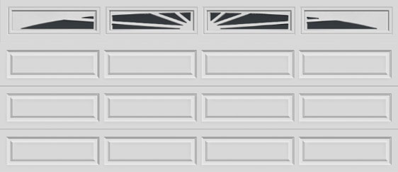 16 short panel clopay premium series garage door sunset 605 windows