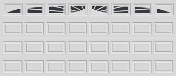 16 short panel clopay premium series garage door sunset 505 windows