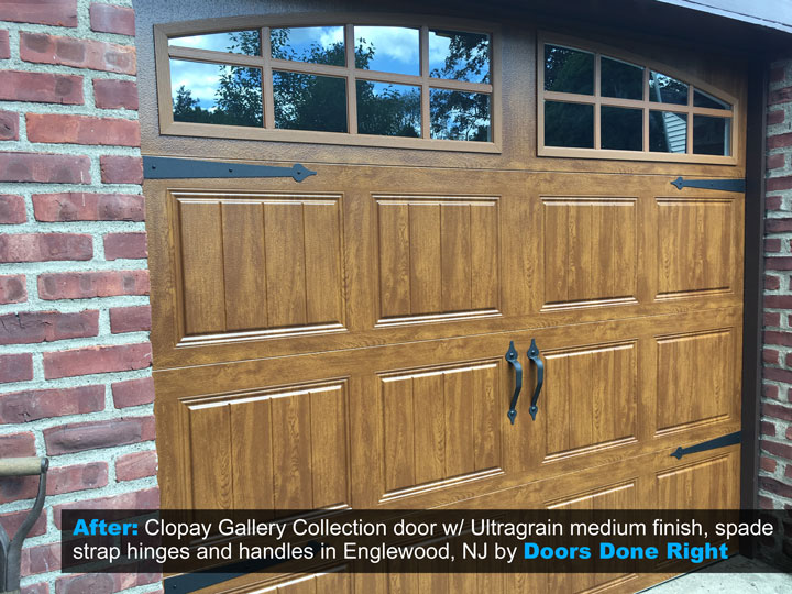 clopay gallery collection garage door in ultragrain medium finish after picture