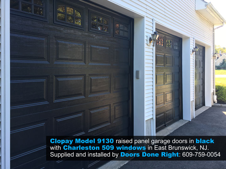 Clopay Model 9130 Garage Door in Black with Charleston 509 Windows in East Brunswick, NJ 08916