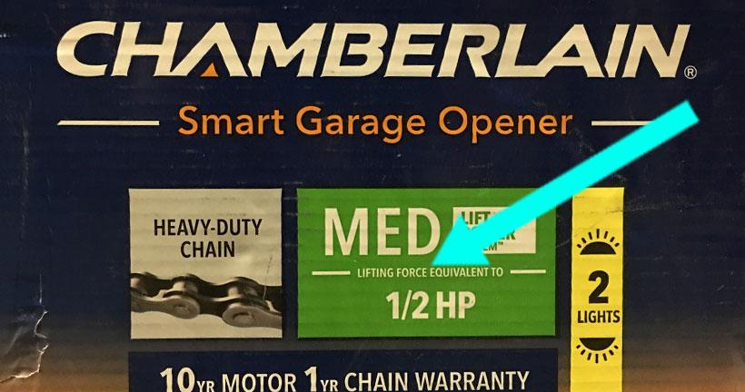 chamberlain 1/2 hp motor chain drive garage door opener