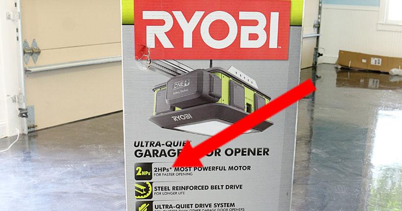 ryobi garage door opener 2 hp