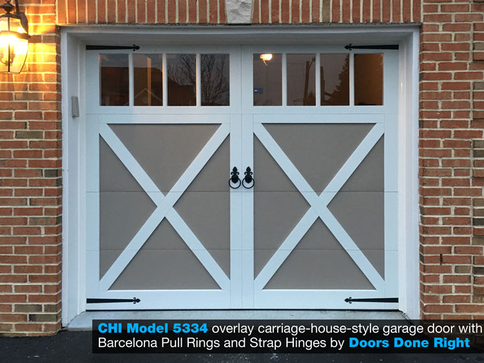 chi brand model 5334 overlay carriage house style garage door