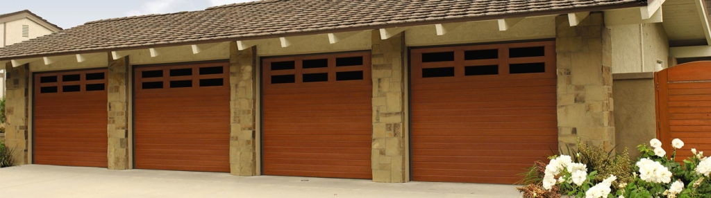 9800 Fiberglass Garage Door 7ft V-Groove Natural Oak Horizontal Windows