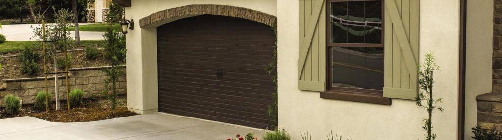 9800 Fiberglass Garage Door 7ft VGroove Walnut