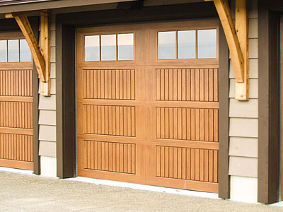 9800 Fiberglass Garage Door 8ft Sonoma NaturalOak 6LiteSquare