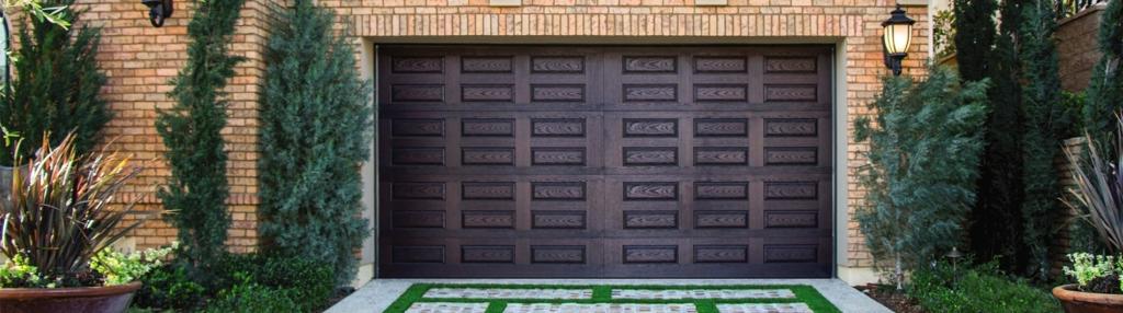 9800 Fiberglass Garage Door Horiz Raised Panel Walnut
