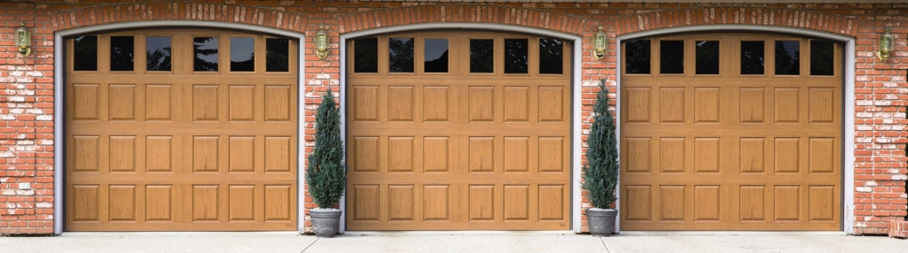 9800 Fiberglass Garage Door Vert Raised Panel Natural Oak