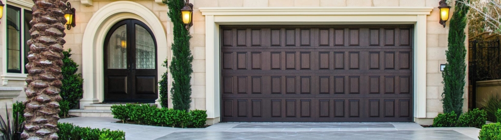 9800 Fiberglass Garage Door Vert Raised Panel Walnut
