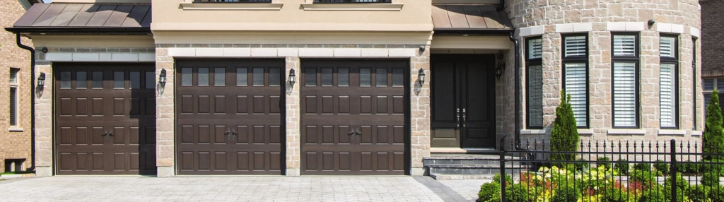 9800 Fiberglass Garage Door Vert Raised Panel Walnut VertLites