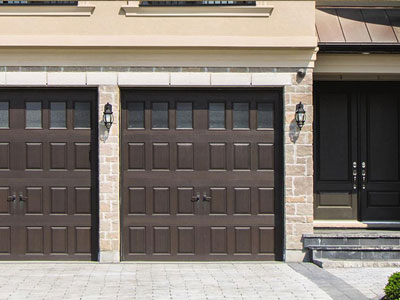 9800 Fiberglass Garage Door Sonoma Gray 6LiteSquare
