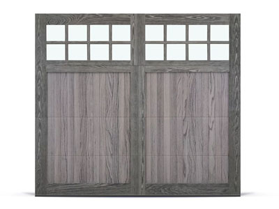 chi shoreline overlay style carriage house garage door in driftwood accents