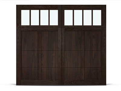 chi shoreline overlay style carriage house garage door in walnut accents
