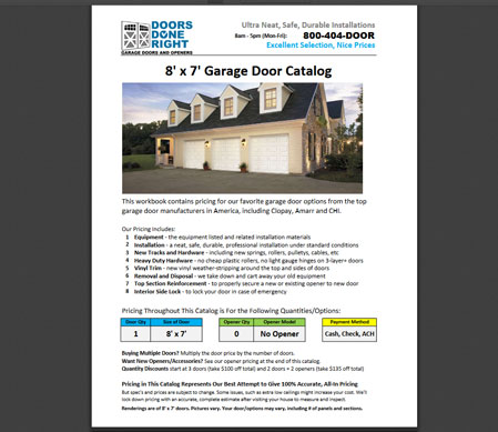 garage door price catalog