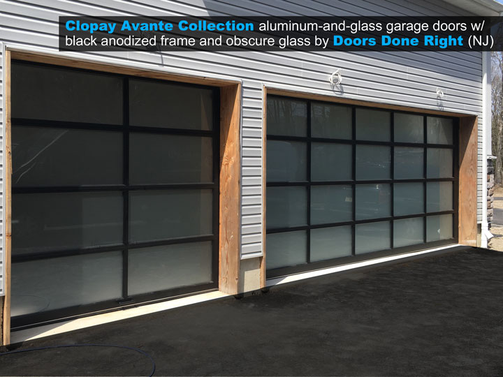 Clopay Avante aluminum and glass garage doors with black anodized frame and obscure glass outside