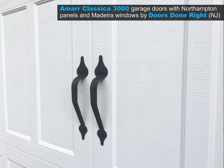 Amarr Brand Classica 3000 Garage Door with Northampton Panels and Madeira Windows - handles closeup