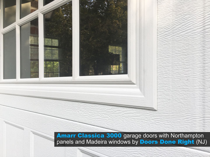 Amarr Brand Classica 3000 Garage Door with Northampton Panels and Madeira Windows - windows closeup