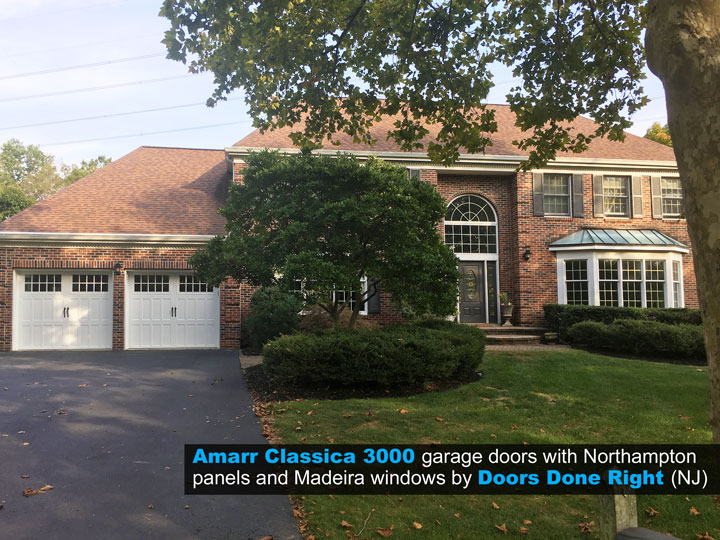 Amarr Brand Classica 3000 Garage Door with Northampton Panels and Madeira Windows - full house