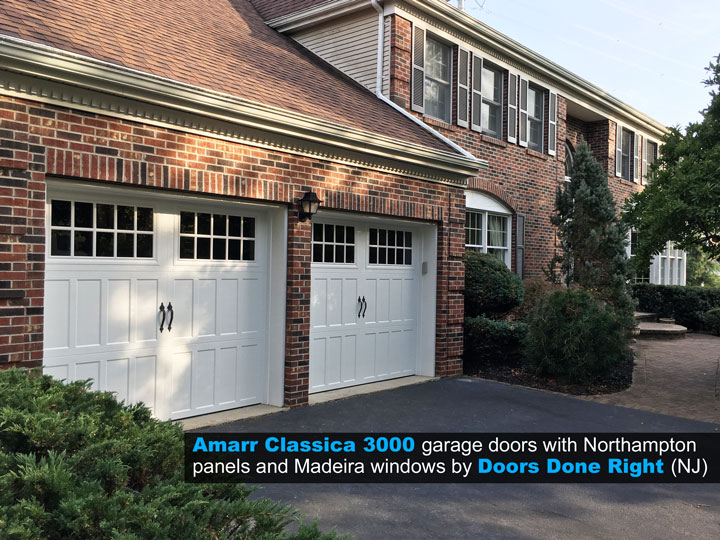 Amarr Brand Classica 3000 Garage Door with Northampton Panels and Madeira Windows Installed in West Windsor, NJ - side view