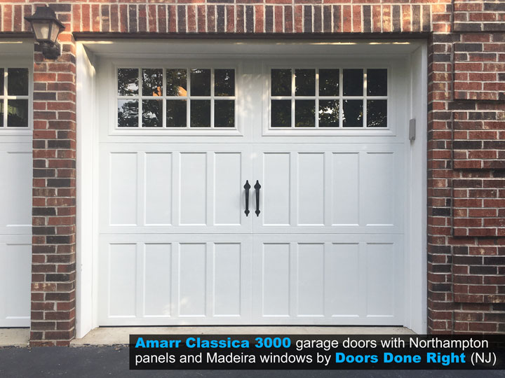 Amarr Brand Classica 3000 Garage Door with Northampton Panels and Madeira Windows - front view