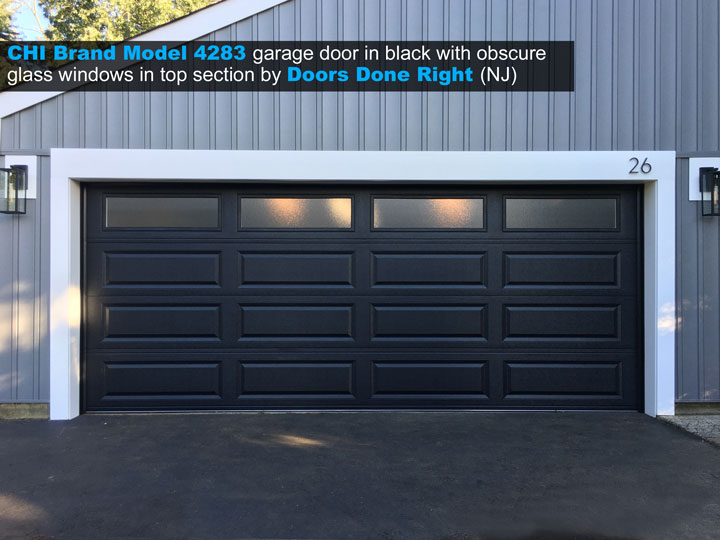 CHI brand model 4283 garage door in black with obscure long panel windows in top section - front view