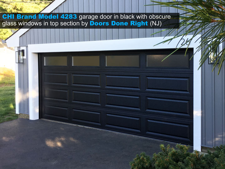 CHI brand model 4283 garage door in black with obscure long panel windows in top section - side view