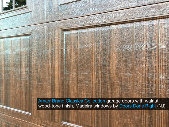 amarr brand classica collection garage door with cortona panels, madeira windows, walnut finish, closeup