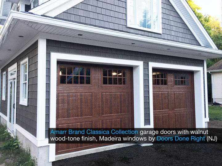 amarr brand classica collection garage door with cortona panels, madeira windows, walnut finish, side view