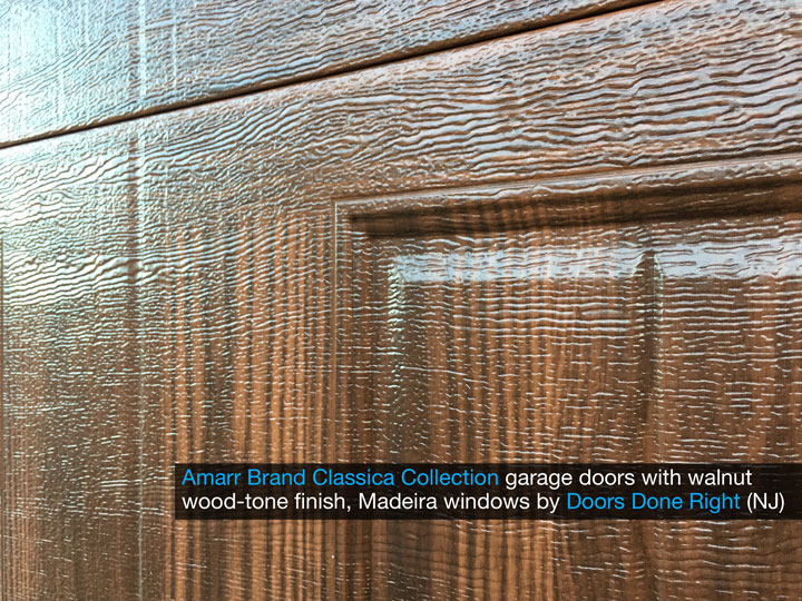 amarr brand classica collection garage door with cortona panels, madeira windows, walnut finish, super close-up