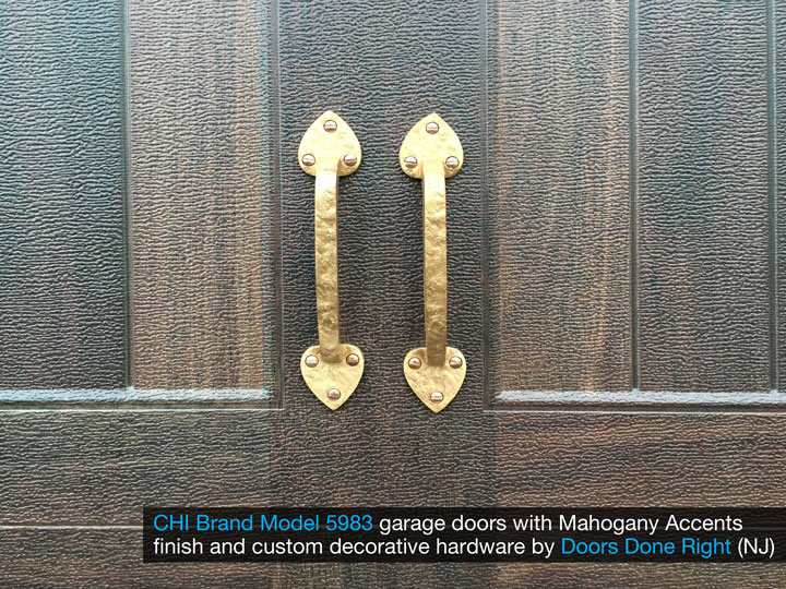 chi model 5983 garage door with mahogany accents finish and customer decorative hardware - closeup with hardware
