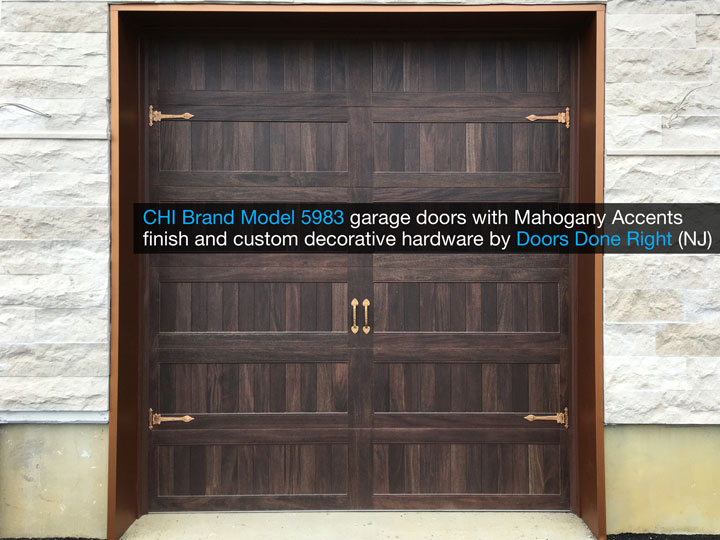 chi model 5983 garage door with mahogany accents finish and customer decorative hardware - front view