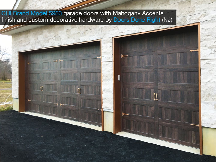 chi model 5983 garage door with mahogany accents finish and customer decorative hardware - side view