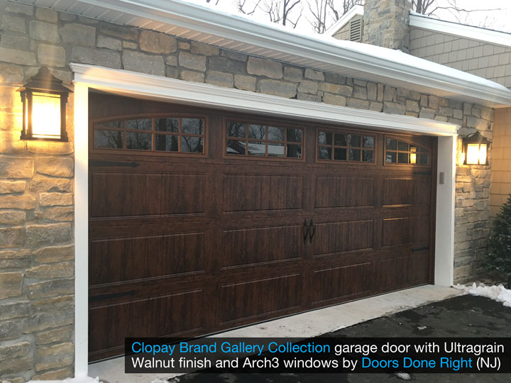 clopay gallery collection garage door with walnut ultragrain finish - side view