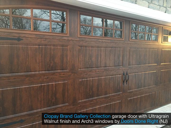 clopay gallery collection garage door with walnut ultragrain finish - closer