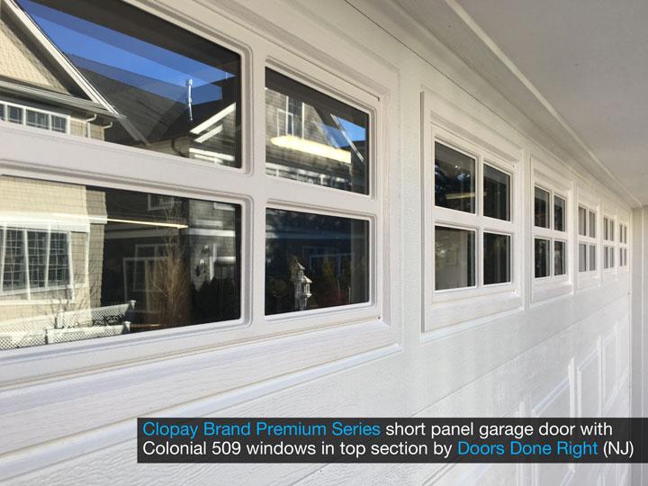 Clopay Premium Series model 9200 steel raised panel garage door - short panel with Colonial 509 windows window closeup
