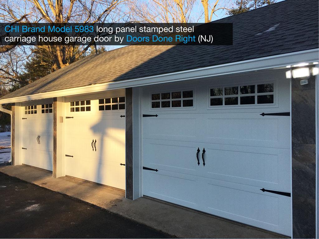 chi brand model 5983 stamped steel garage door with stockton windows - 3-door view